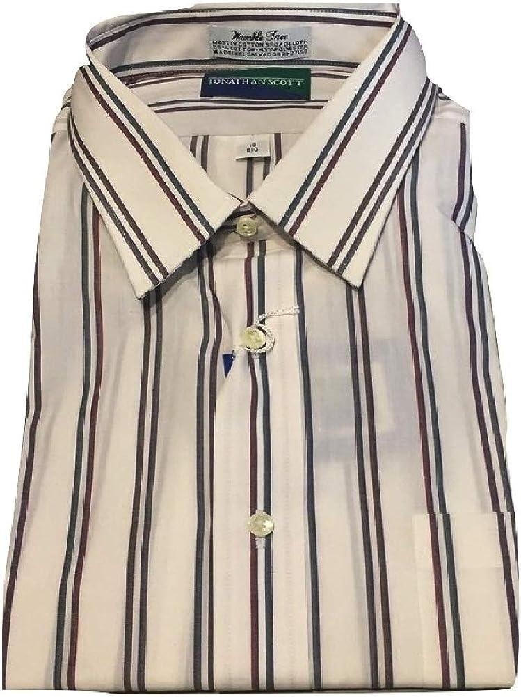 Jonathan Scott 18 Short Sleeve Dress Shirt Winkle Free White Multi Stripe 18SS