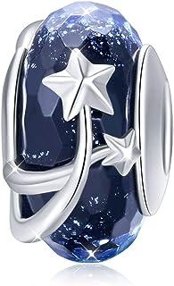 Breloque en argent sterling 925 avec chaîne serpent pour bracelets en verre Murano noir avec perles en forme d'étoile pour...