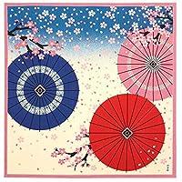濱文様 小布(風呂敷 50cm) 和傘に舞桜 ピンク