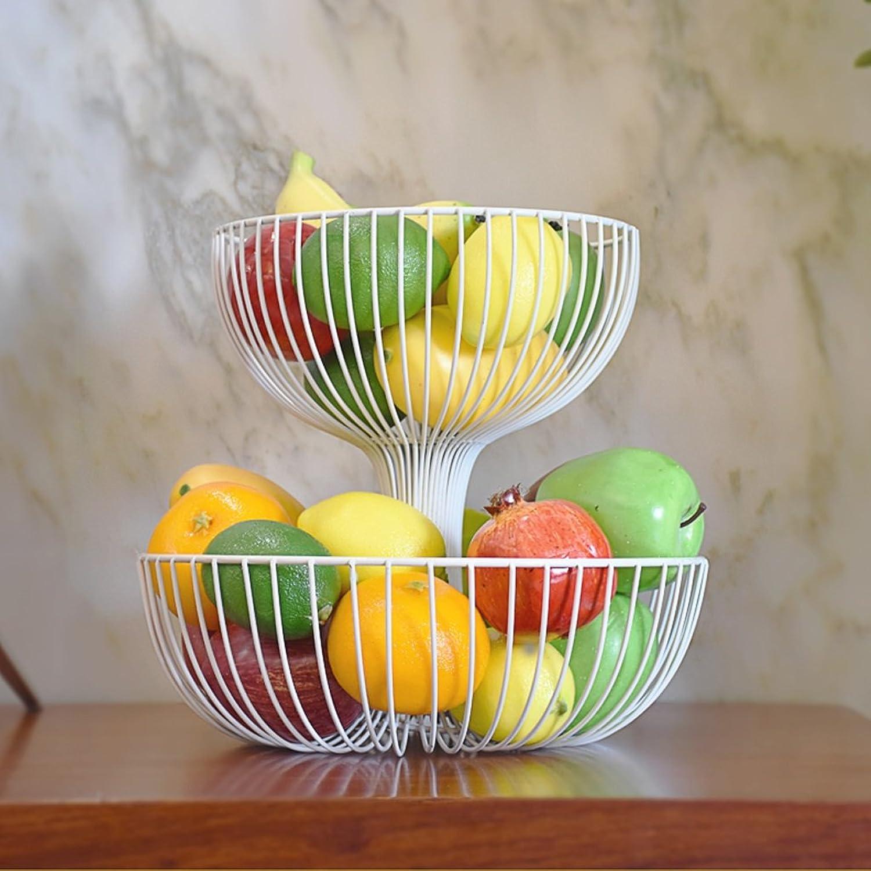 DNSJB Panier de Fruits en Fer forgé de 2 Couches, Plaque de Fruits secs de Stockage de capacité créative de Grande capacité, Blanc (Couleur   Blanc, Taille   32  32  29)