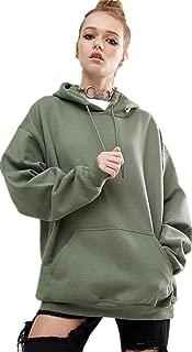Army Green Round Neck Hoodie & Sweatshirt For Women