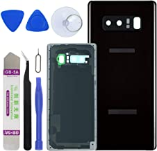 LUVSS [Extra Adhesive] Back Glass Assembly for Samsung Galaxy Note 8 N950 (All Carriers) Rear Cover Glass Panel Case Housing + Camera & Flash Lens with Opening Tools Kit (Midnight Black)