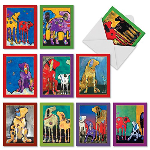 10 Assorted Thank You Notes with Graphics of Artistically Painted Dogs -