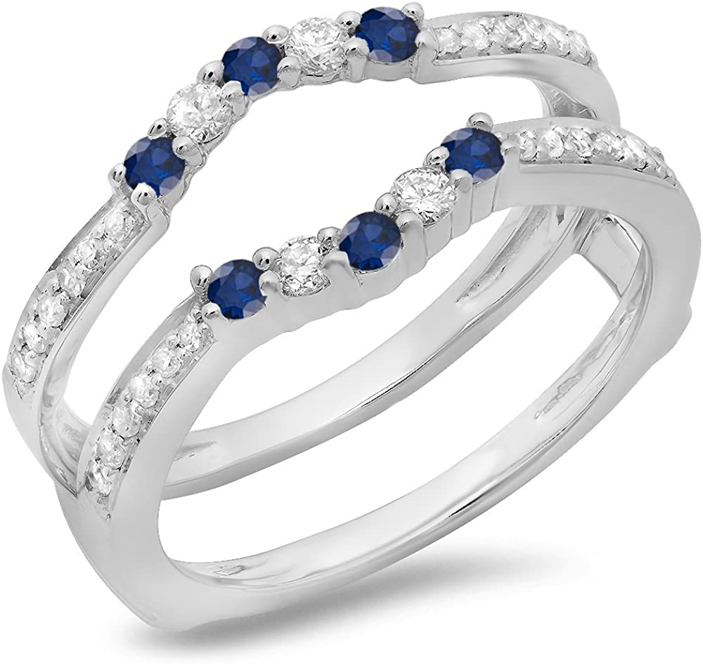 18K Gold Round Cut Blue Sapphire & White Diamond Ladies Wedding Band 5 Stone Enhancer Guard Double Ring