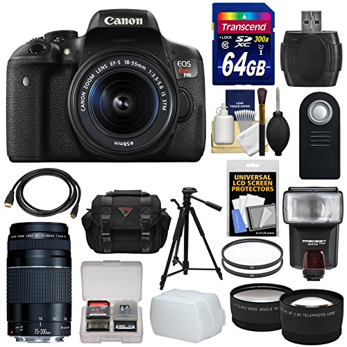 Canon EOS Rebel T6i Wi-Fi Digital SLR Camera & 18-55mm is STM & 75-300mm III Lens + 64GB Card + Case + Filters + Tripod + Flash + Tele/Wide Lens Kit