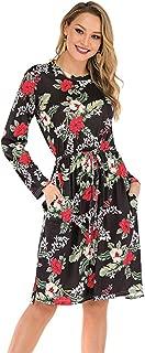 Women's Floral Long Sleeve Casual Pockets Midi Dress