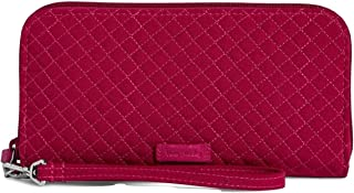 Vera Bradley Iconic RFID Accordion Wristlet in Passion Pink Microfiber with Faux Leather Trim