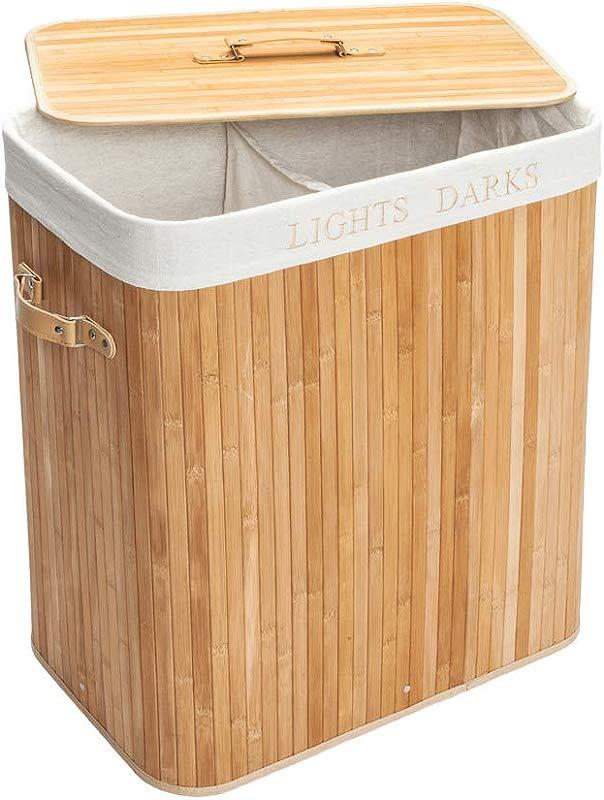 SPDTAILS Double Lattice Bamboo Folding Basket Double Laundry Hamper Dirty Laundry Hamper Dirty Clothes Basket Bin Cloth Storage Bag With Lid And Removable Liner