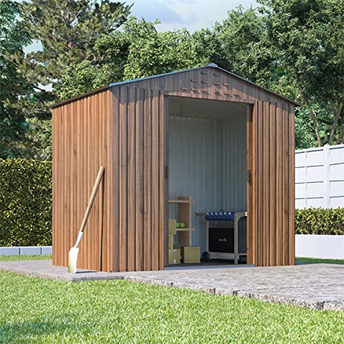 BillyOh Partner Woodgrain Apex Roof Metal Shed, Heavy Duty Galvanised Steel Shed, Foundation Kit (6x4)