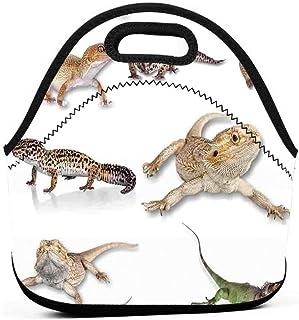 大人断熱弁当ポーチポータブルキャリートートピクニックストレージバッグランチボックスグルメハンドバッグマルチカラー凝視ヒョウヤモリ家族画像原始爬虫類野生生物ポーチトートバッグ