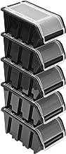 Stapelboxenset, 5 stapelboxen met deksel, 230 x 160 x 120 mm, zichtbox, stapelbox, opbergbox, zwart