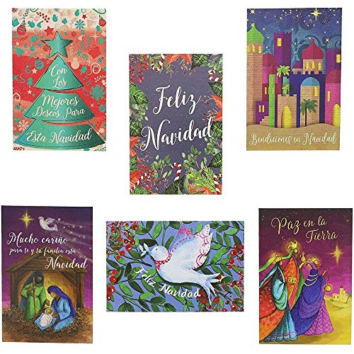Feliz Navidad Christmas Cards Assortment with Envelopes, 6 Festive Designs (4 x 6 In, 48 Pack)