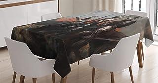 ABAKUHAUS Mundo de fantasía Mantele, Medieval, Resistente al Agua Lavable Colores No Destiñen Personalizado, 140 x 200 cm, Gris Naranja