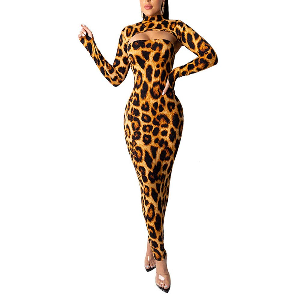 Available at Amazon: Sprifloral Women's Sexy 2 Piece Dress Sets Mock Neck Long Sleeve Top + Leopard Print Bodycon Long Dress