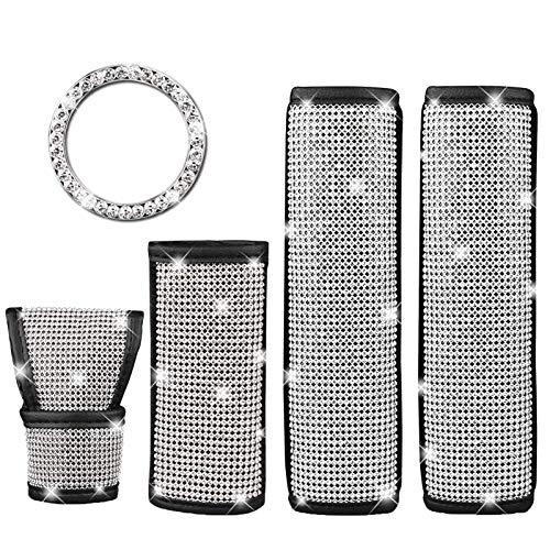 5 Stück Autozubehör für Damen, Crystal Diamond Auto Sicherheitsgurt Schaltknauf-Schutz Gangabdeckung Dekor-Zubehör für Frauen