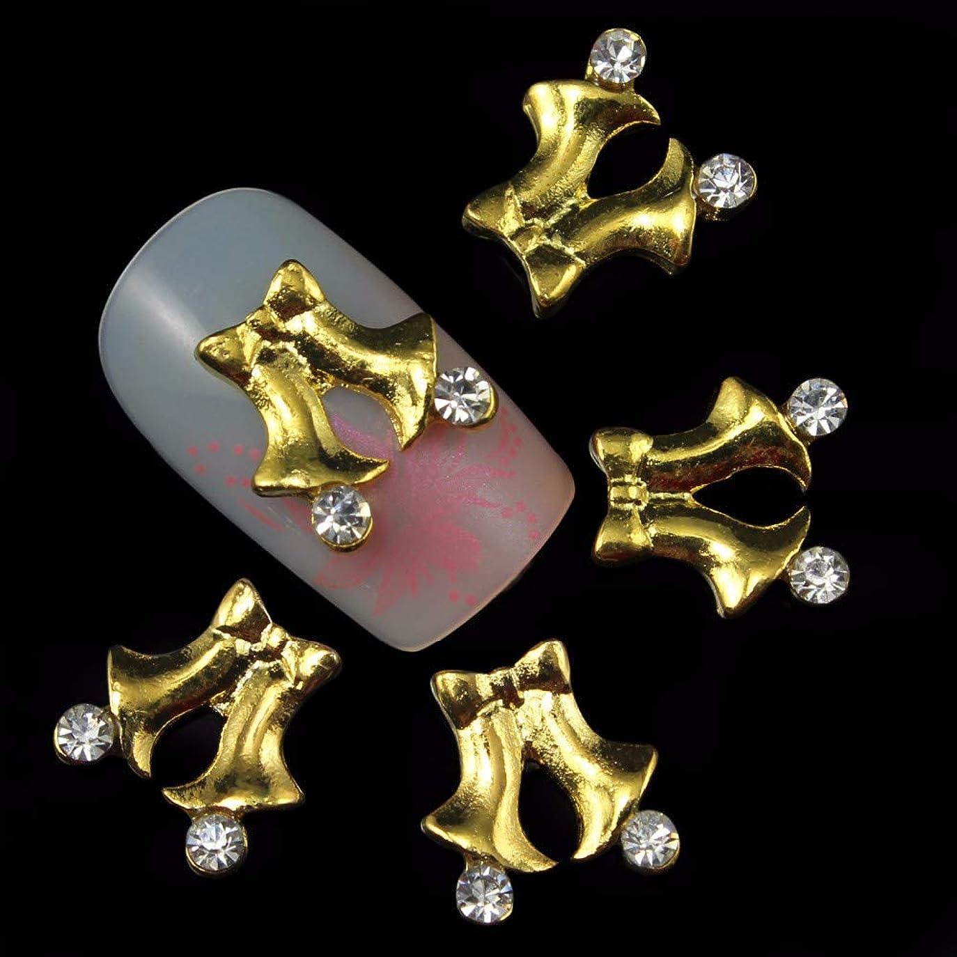 月曜日メーカー許さない10個入りの3Dゴールドチャームネイルズクリスマスボウノット合金のデザインDIYネイルアートの装飾ラインストーンスタッド用グリッターラインストーン