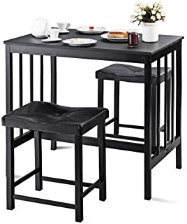 Giantex 3 PCS Counter Height Dining Set Faux Marble Table 2 Chairs Kitchen Bar Furniture (Black)