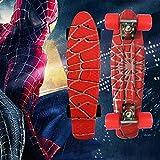 Skateboard 22' Mini Beginners Kids Girls for Outdoor Sports Replace Walking Anti-Skid Custom Printing Single Rocker Board Spiderman