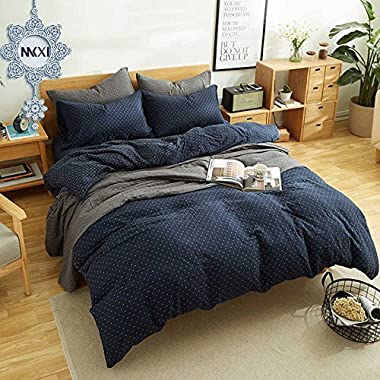 MKXI Simple Bedroom Collection 3 Pieces Navy King Size Duvet Cover Set,Cross Printed