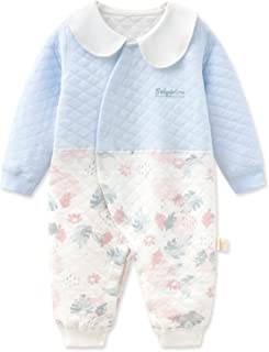 الوليد الطفل بنين فتاة اللون مطابقة رومبير ارتداءها قطعة واحدة بذلة مع مجموعة مريلة القابلة للإزالة (Color : Blue, Size : ...