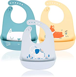Baberos Impermeables de Silicona para Bebé, Babero Flexible