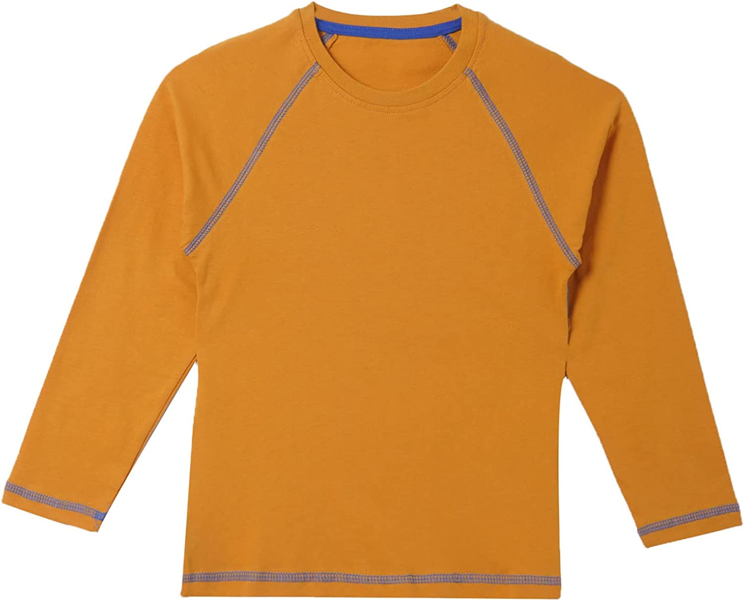 Hansber Kids Boys Solid Color Long Sleeve Tops Lightweight Athletic Sweatshirts Pullover Casual Undershirts