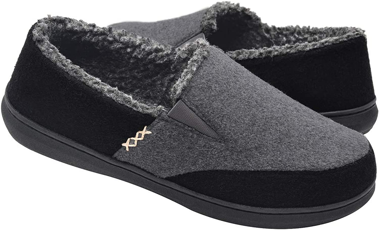 Zigzagger Men's Wool Micro Suede Moccasin Slippers House shoes Home Indoor Outdoor Footwear