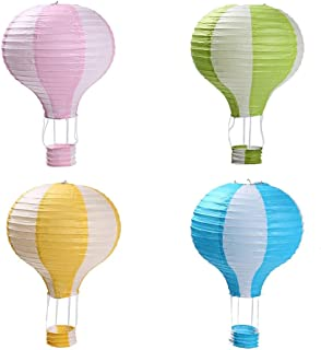 Zilue Party Hanging 12 inches Rainbow Hot Air Balloon Paper Lanterns Christmas Accessories Birthday Party Wedding Decoration Stripe Set