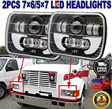"""7""""X6"""" 5x7 Inch Led Headlights Rectangular with Amber for International Harvester 9400i SBA 4900 4700 4800 8100 8200 3800 9200 1993 to 2008, Sealed Beam Super Bright High Low Beam Lights Conversion Kit"""