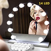 Vanity Mirror Lights Strip Kit Makeup LED Mirror Lighting Hollywood DIY 14 Light Bulb for Women Indoor Home Bathroom Bedroom Dressing Table with Dimmer (USB Plug in, Mirror Not Included)