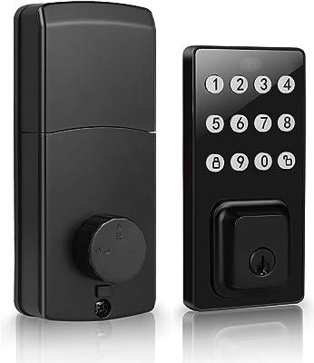 DECORITEN Electronic Keypad Deadbolt Door Lock, Contemporary Keyless Entry Door Locks with Entry Function for Safety, Home & Office Use, Matte Black Finish