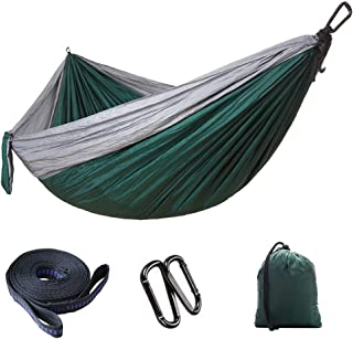 Outdoor Portable Camping Hammocks,MKLEKYY Upgraded Version Lightweight Double Hammocks Chair Set,Parachute Nylon Fabric,Maximum Load 300kg,for Patio Yard Beach,Relaxation Artifact (Green)