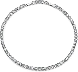 Tennis Choker Necklace Silver Plated CZ Cubic Zirconia Tennis Link Necklace for Women