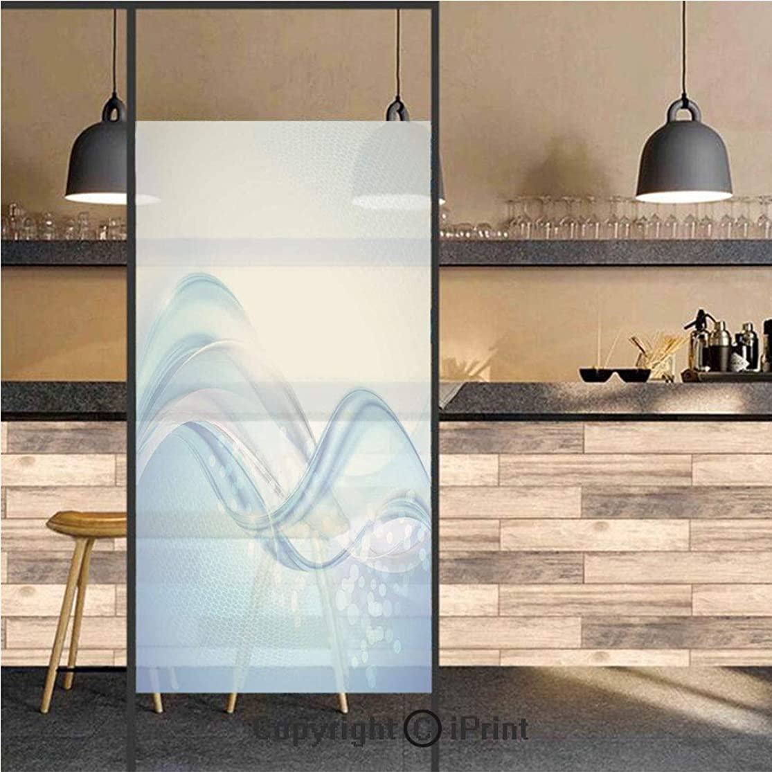 3D Decorative Privacy Window Films,Modern Wavy Ocean Surfer Summertime Themed Bubble Detailed Artwork,No-Glue Self Static Cling Glass Film for Home Bedroom Bathroom Kitchen Office 17.5x71 Inch opgwjswb3