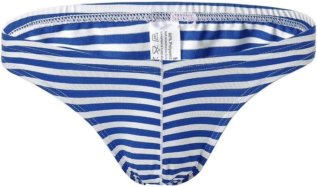 Allywit Men's Thong Underwear Soft Stretch Stripe Briefs Boxer Underpants Low Waist