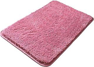 バスマット 風呂マット 足ふきマット 吸水 滑り止め ふかふか 抗菌 おしゃれ 丸洗い キッチン 浴室 玄関 (ローズピンク, 40×60cm)