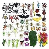 DOITEM 80 Pack Insectos de plástico Figuras Juguetes Surtido Insecto Incluye Multicolor Mariposa Realista para niños Educación Juguetes de Halloween