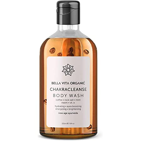 Bella Vita Organic Chakra Cleansing Body Wash Aura Boosting Positivity With Himalayan Rock Salt, Real Coffee Beans & Essential Oils