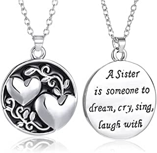 coadipress Love Heart Necklace for Women Girls Personalized Silver Plated Round Double Heart Engraved Letters Pendant Neck...