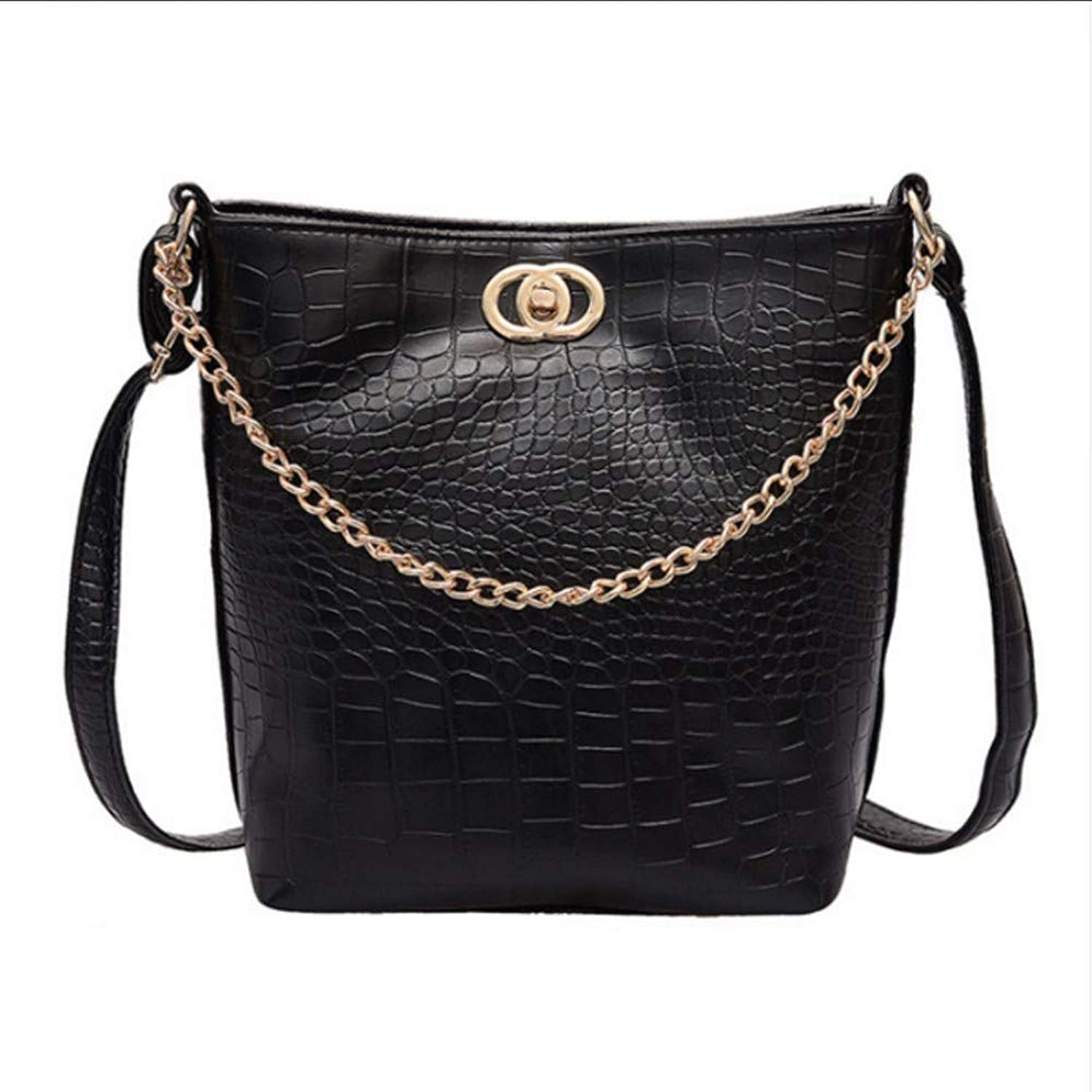 JQSM Alligator Pu Leather Casual Totes High-Capacity Bucket Bags for Women Metal Chain Stripe Shoulder Bags All-Match
