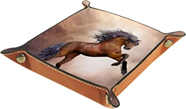 Leather Valet Tray, Dice Tray Folding Square Holder, Dresser Organizer Plate for Change Coin Key Animal Horse Fantasy