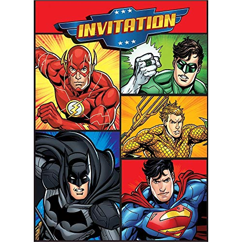 Partyeinladungen - Justice League Party - 8er-Pack