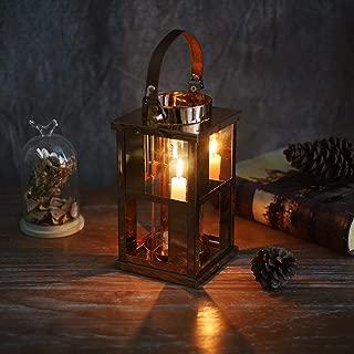 Marbrasse Outdoor Candle Lantern Hanging Hurricane Candle Holder Decorative Metal Lattice Centerpiece (Gold)