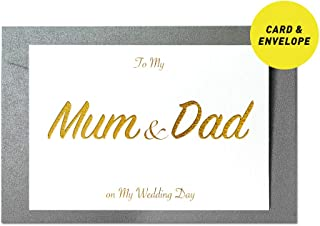 Ihopes to My Mum & Dad Wedding Day Foiled Card   to My Mum & Dad on My Wedding Day Gold Foil Cards with Envelopes   Wedding Vow Card with Gold Foil   Thank You Parent Wedding Gifts Card