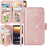 Harryshell ZTE MAX XL Case, Luxury 12 Card Slots Shockproof Kickstand PU Leather Wallet Flip Protective Case Cover with Wrist Strap for ZTE MAX XL N9560 (Glitter Pink)
