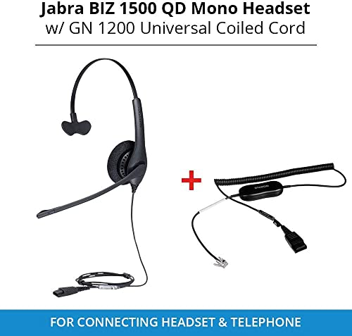 new arrival Biz 1513-0157 QD Mono Headset outlet sale with GN QD 1200 sale Universal Coiled Smart Cord for Connecting Headset & Telephone online sale