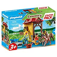 Enter the colourful world of PLAYMOBIL: Starter Pack Horse Farm with age-appropriate accessories and building parts for detailed re-enactment 1 woman, 1 child figure, 1 pony farm building section with horse box with swivelling feed basket and picture...