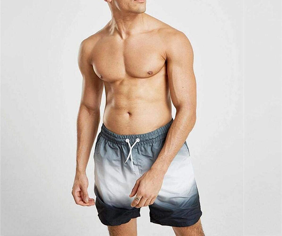 MODOQO Workout Shorts for Men,Summer Trend Elastic Waistband Quick Dry Gradient Shorts