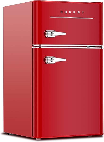 KUPPET Retro Mini Refrigerator 2 Door Compact Refrigerator For Dorm Garage Camper Basement Or Office 3 2 Cu Ft Red