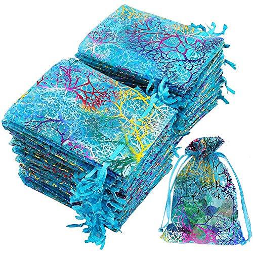 MZSM Coralline Organza Gift Bags, 9 x 12cm Coral Pattern Organza Drawstring Pouches Bolsas de Regalo de Joyería Bolsas de Favor de Boda para Fiesta de Dulces Bolsas 50 Piezas